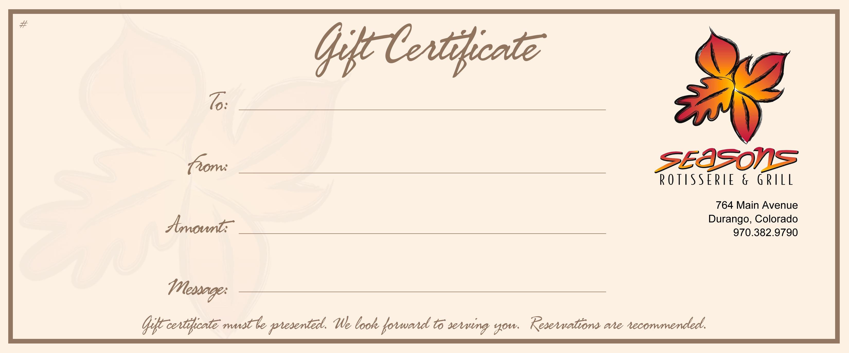 seasons gift certificate seasons of durango